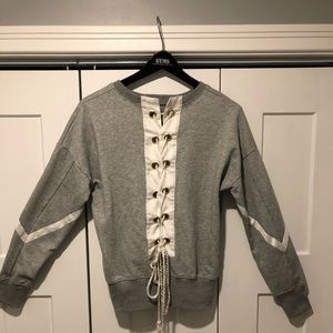 Athleisure Lace Up Grey Sweatshirt M